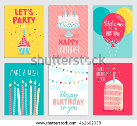 Birthday card set. Vector illustration.