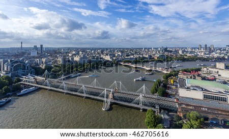 Hunger ford Bridge and Golden Jubilee Bridges in London, United Kingdom #462705616