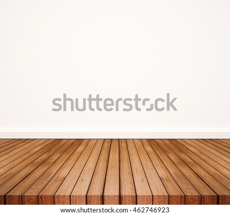 Wood floor with white wall #462746923