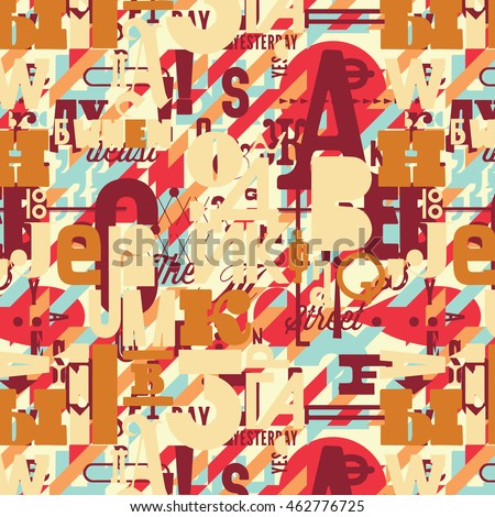 Seamless pattern with hand drawn decorative letters. Vector illustration. Can be used for textile, website background, book cover, packaging, greeting cards. #462776725
