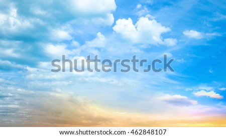 Dramatic sunset concept: Beautiful light with sky and glory clouds background #462848107