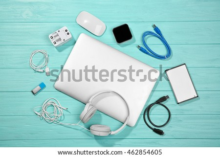 Laptop with accessories. Energy and information safety concept #462854605