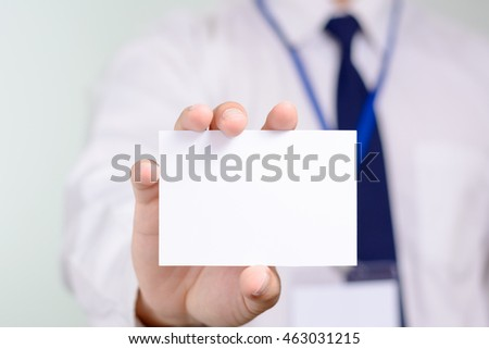 Businessman showing his name card. #463031215