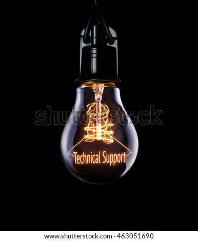 Hanging lightbulb with glowing Technical Support concept. #463051690