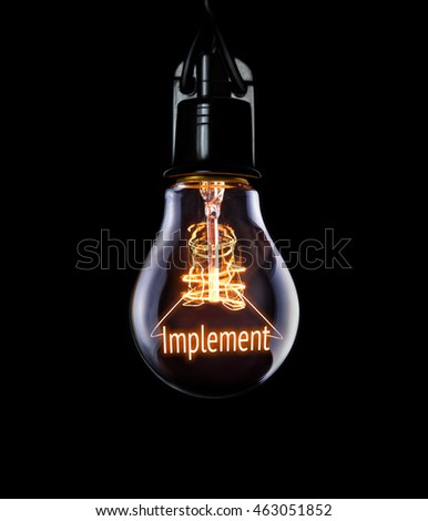 Hanging lightbulb with glowing Implement concept. #463051852