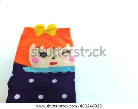 Beauty sock on the white background, space for text #463246028