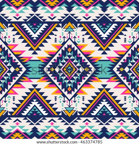 neon colors tribal vector seamless pattern. aztec abstract geometric art print. ethnic hipster vector background. Wallpaper, cloth design, fabric, paper, cover, textile.