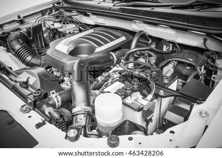 Diesel engine under the hood of a pickup truck #463428206