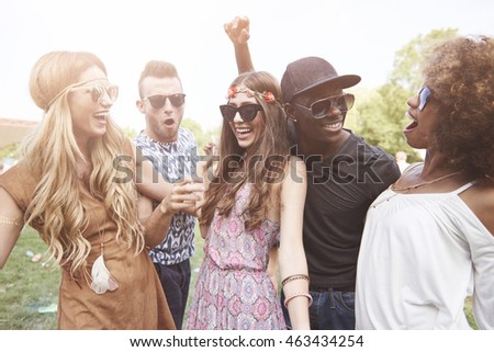 Group of friends dancing outdoors #463434254