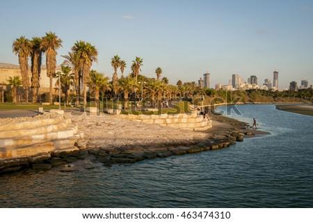 TEL AVIV, ISRAEL. July 22, 2016. The Yarkon river in the Tel Aviv sea port area at sunset. #463474310