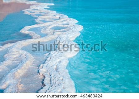 Texture of Dead Sea. Salty sea shore background #463480424
