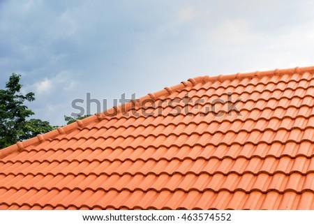 home building construction roof tiles  concrete. orange color #463574552