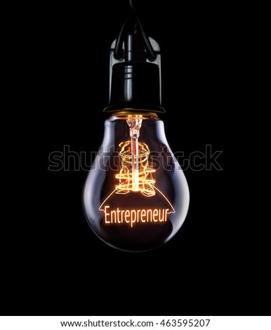 Hanging lightbulb with glowing Entrepreneur concept. #463595207