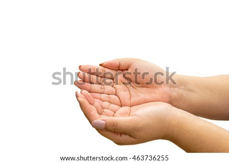 female hands as if holding something isolated on white #463736255