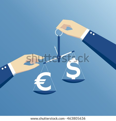 business concept exchange rate, hands holding the scales and weighed the dollar and euro flat design #463805636