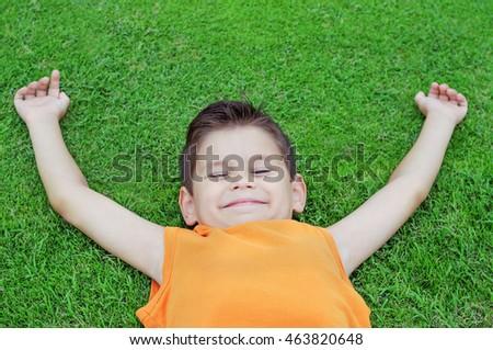 Happy little boy lying on green grass. He is enjoying a wonderful day. #463820648