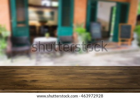 street cafe and wooden desk board place. #463972928