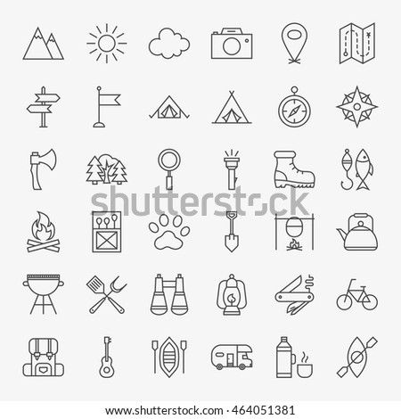 Hiking and Outdoor Line Icons Set. Vector Collection of Modern Thin Outline Camping Symbols. Royalty-Free Stock Photo #464051381