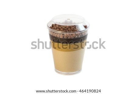 dessert in plastic cups cream with fruit and pastries and mousse #464190824