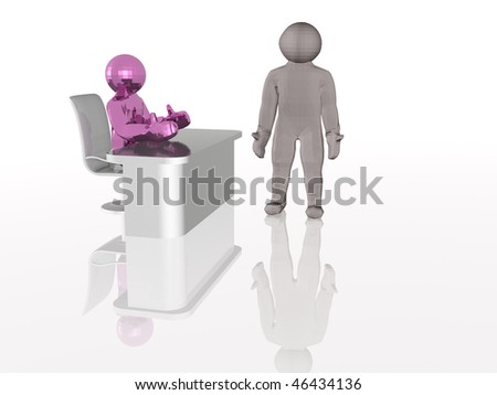 Purple man at the table and gray man, white background. #46434136