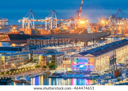 Aerial view of the sea port with night lighting in Genoa at sunset. #464474651