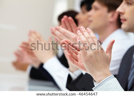 Photo of business partners hands applauding at meeting #46454647