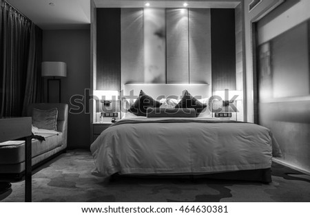 Black and white style - Hotel room or bedroom Interior. hotel concept. #464630381