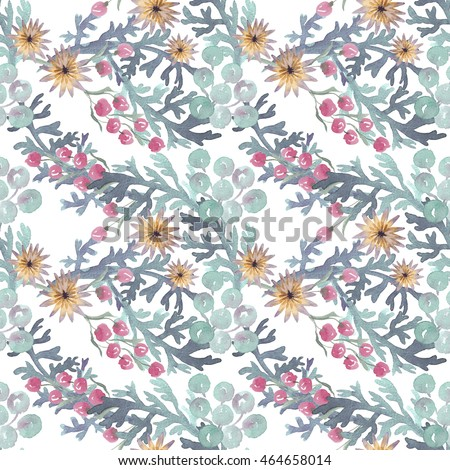 Seamless hand illustrated floral pattern with wildflowers. Watercolor botanical background #464658014