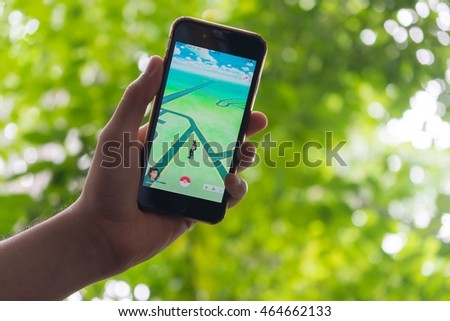 Rayong, Thailand - Aug 07, 2016 : Pokemon go app is now open on Aug 07, 2016 #464662133