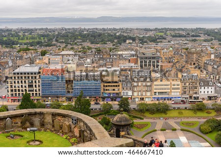 EDINBURG, SCOTLAND - JULY 17, 2016: Aerial view of the Edinburgh, Scotland. Old Town and New Town are a UNESCO World Heritage Site #464667410