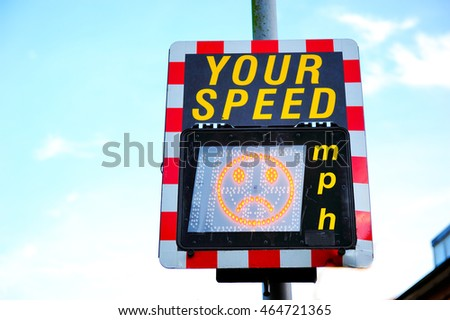 Speed limit digital sign, it shows frown face #464721365