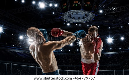 Professional box match . Mixed media Royalty-Free Stock Photo #464779757