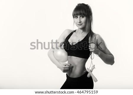 Fitness girl on white background #464795159