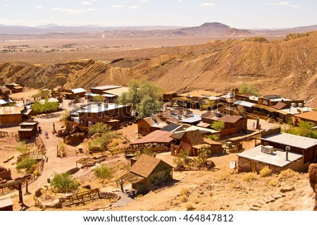 Calico Ghost town in San Bernardino County in California (former silver mining town) Royalty-Free Stock Photo #464847812