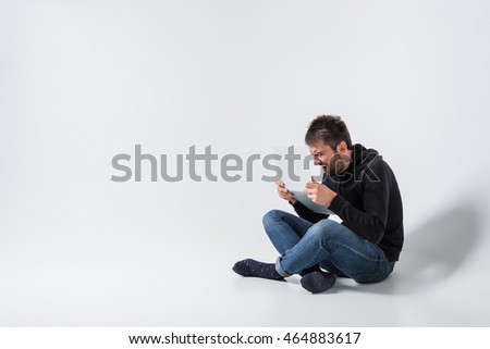 emotional man and notebook #464883617