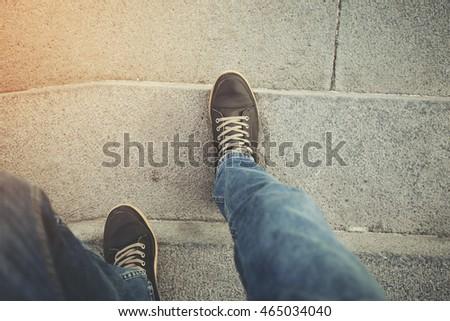 man walking down stair. #465034040