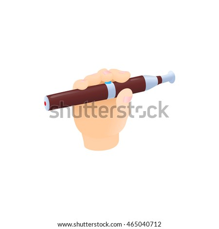 Hand with electronic cigarette icon in cartoon style on a white background #465040712