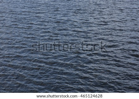 Sunset reflecting on large body of fresh water, showing wave patterns and textures.