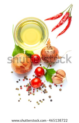 A food and healthy lifestyle concept: An aromatic colorfull spicy world of Italian  tasty, delicious and savory  vegetables, herbs, spices. Top view. Isolated on white. #465138722