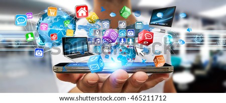 Businessman connecting tech devices and cyberspace applications '3D rendering' #465211712