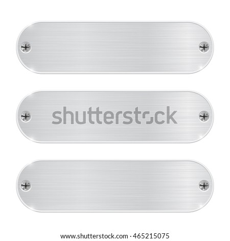 Oval metal plates with screws. Vector illustration isolated on white background #465215075