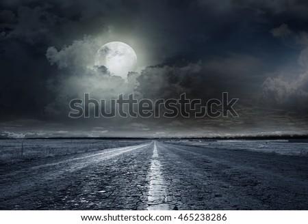 asphalt road night bright illuminated large moon #465238286