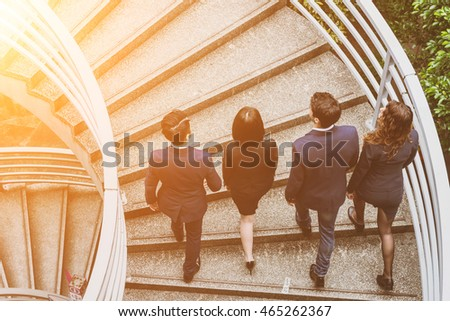 Top view of business people walking on staircase #465262367