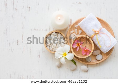 Beauty and fashion concept with spa set on white rustic wooden background #465281132