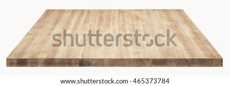 Wooden table top on white background. #465373784
