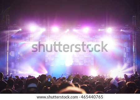 Rear View Of Audience Enjoying Music Festival #465440765