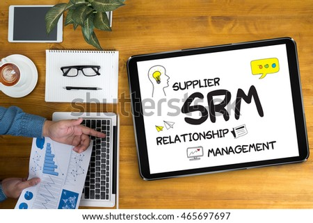 man work SRM Supplier Relationship Management  Assessment Enterprise Analysis  Businessman working at office desk and using computer and objects, coffee, top view, #465697697