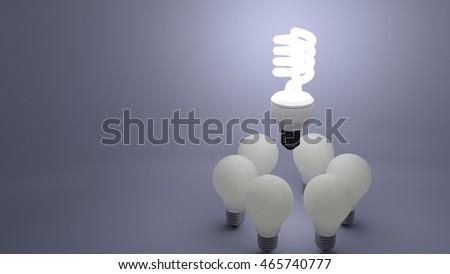 fluorescent bulb above dim bulbs showing bright ideas vs dim ones  3d render #465740777