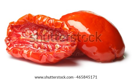 Sun dried tomato halves, oiled, medium residual moisture content, with seeds. Clipping paths, shadow separated, infinite depth of field. Design element #465845171