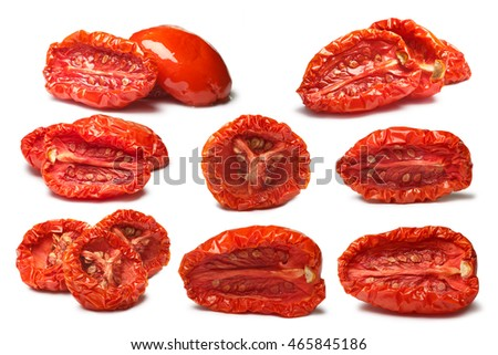 Set of plain and oiled sun-dried tomatoes, medium residual moisture content, with seeds. Clipping paths, shadows separated, infinite depth of field. Design elements #465845186